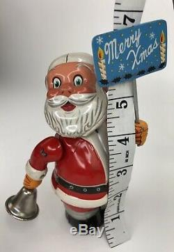 Vintage 1950's Santa Claus Tin Litho Ringing Bell TN Wind Up Toy Japan WORKS