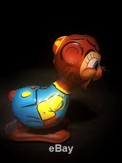 Vintage 1950's Tin Litho Wind-up Jumping Chipmunk, Linemar Toys, Ja