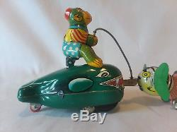 Vintage 1950s Mechanical Fishing Monkey on Whales TPS Japan tin litho wind-up