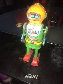 Vintage 1955 Naito Shoten InterplanetaryExplorer Robot Tin Windup Space Toy