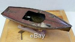 Vintage 19 Lindstrom Tin Toy Boat Ship With Early Clockwork Wind Up Motor