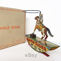 Vintage 30s Range Rider Tin Litho Wind-Up Cowboy Pinto Pony Marx Toy Company Box