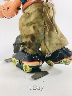 Vintage 50s LINEMAR POPEYE ROLLER SKATER Wind Up Tin Toy Japan MARX