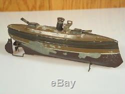 Vintage 9 Clockwork Gunboat Carette Fleischmann Falk As Is 18217