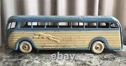 Vintage Antique 1930s Kingsbury Toys Greyhound Bus # 228, Wind-Up (not working)
