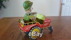 Vintage Antique Art Mfg. G. I. Joe Jouncing Jeep Tin Wind Up Toy