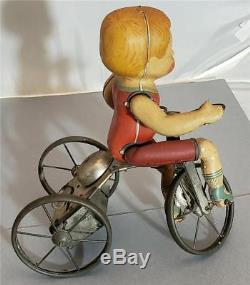 Vintage Antique Boy Wind Up Toy Tin Litho Tricycle Marx Wonder Bike 1920's Rare