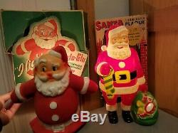 Vintage Antique Christmas Santa Claus Tree Topper Wind Up Toy Figures Lot