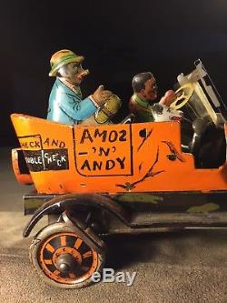 Vintage Antique Marx 1930's Tin Amos & Andy Fresh Air Taxi Windup Toy