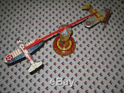 Vintage Antique Marx Mar 712 1947 Skybird Flyer Plane Control Tower Toy Windup