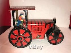Vintage Antique Marx Steam Roller 1930's Tin Litho Wind Up Toy RARE Windup
