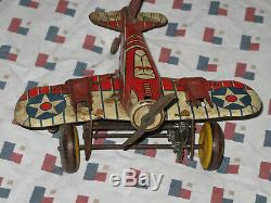Vintage Antique Marx U. S Army Fighter Plane WWII Toy Windup Airplane