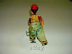 Vintage Antique Tin Litho Wind Up TPS Hobo Skating Clown