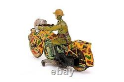 Vintage Arnold CKAO A-754 Military Army Motorcycle German Tin Wind-up Toy