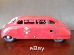 Vintage BUDDY L SCARAB WIND UP CAROriginal Pressed Steel Automobile Toy