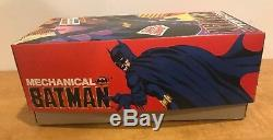 Vintage Batman Mechanical Billiken Wind- Up Tin Toy NIB With Key Japan 1989 Mint