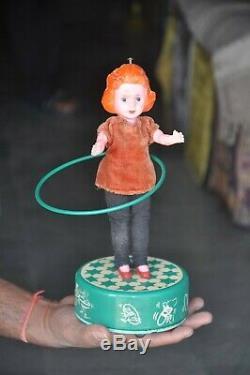 Vintage Battery Operated Halla Gulla Girl Litho Tin Toy, Japan
