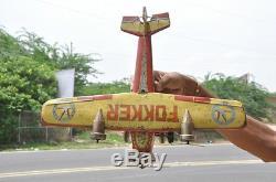 Vintage Big National Airline FOKKER Litho Airplane Wind Up Tin Toy, Japan