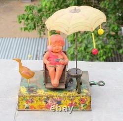 Vintage Boardwalk Delight Litho Tin & Celluloid Wind Up Toy C. K Trademark, Japan