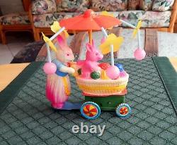 Vintage Celluloid & Tin Momma & Baby Bunny Carriage Wind-Up with Box Excellent