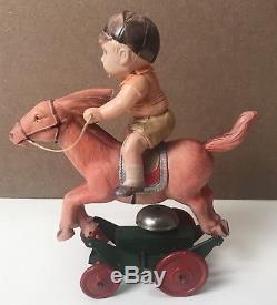 Vintage Celluloid Wind-Up Japan Toy, Jockey, Race Horse, Works
