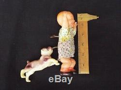 Vintage Celluloid Windup Toy Dog Chasing/Biting Crying Baby Occupied Japan