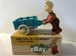 Vintage China Animal and Barrow Clockwork MS 740 Tin MIB