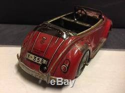 Vintage Cko Kellermann Tin Wind-up Tin Car Convertible Flip Top Vw Volkswagen
