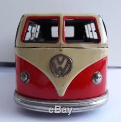 Vintage Clockwork Windup VW GOSO Toys Delivery Camper van tin toy, Germany. BOXED