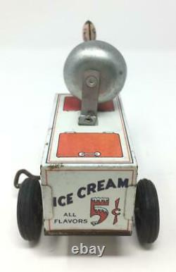 Vintage Courtland Ice Cream Scooter Windup w Bell U. S. A. 1930s