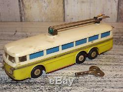 Vintage Czechoslovakia ITES Yellow Plastic/Tin Wind-Up TATRA Trolley Bus Working