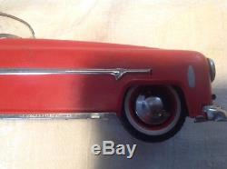 Vintage Distler Metal Wind-up Tin Car Red Made in US Zone Germany