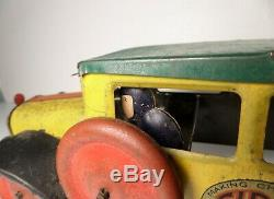 Vintage Early Girard Tin Litho Wind Up Bus 14 Chein