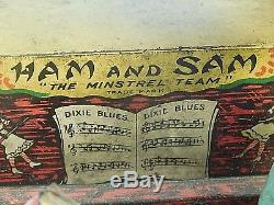 Vintage Ferdinand Strauss Ham And Sam The Minstrel Team Windup Tin Toy
