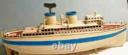 Vintage Fleischmann German Clockwork Wind up Toy Tin Ocean Liner Boat