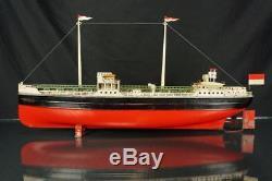 Vintage Fleischmann German Esso Oil Tanker Tin Clockwork Wind Up Toy Boat Ship
