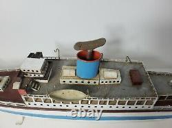 Vintage Fleischmann TIN CLOCKWORK OCEAN LINER SHIP West German Toy BOAT