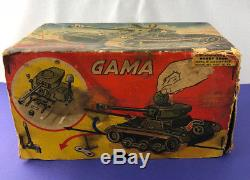 Vintage Gama Tin Wind Up Tank # 60 with Orig. Tools Sparking Gun W. Germany in Box