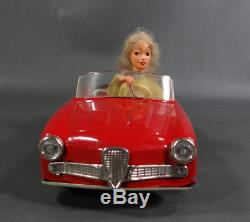 Vintage German SCHUCO 5735 TEXI Red Alfa Romeo Wind-Up Tin Toy Car Lady Driver