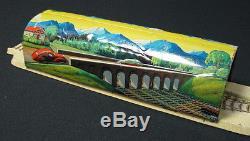 Vintage German Wind Up Tin Train Set Toy Germany Crossed Rails Mountain See