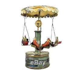 Vintage Gunthermann/Günthermann Early 1900's Tin Wind-Up Carousel Working