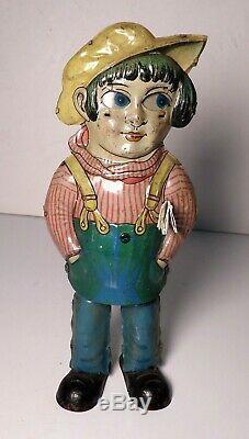 Vintage Günthermann Tin Windup Walker German Boy with Newspaper Under Arm Germany