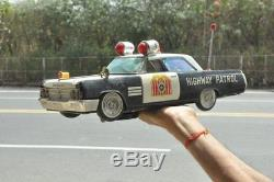 Vintage Highway Patrol 15'' Big Buick Litho Battery car Tin Toy, Japan