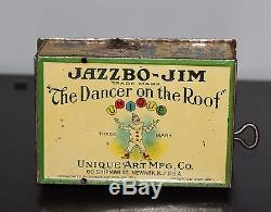 Vintage JAZZBO JIM The Dancer on the Roof 1921 Unique Art Wind-Up Toy