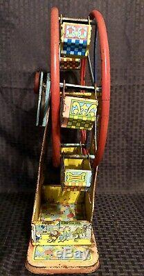 Vintage J. Chein Disneyland Mickey Tin Litho Ferris Wheel Wind Up Toy RARE HTF