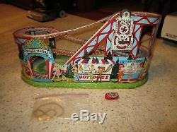 Vintage J. Chein Roller Coaster & 1 Car Litho Wind-Up Toy