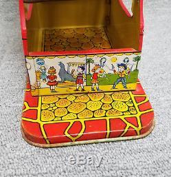 Vintage J. Chein Tin Litho Keywind Ferris Wheel Toy Works Great