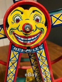 Vintage J. Chein USA Hercules Ferris Wheel tin/litho/pressed metal wind-up toy