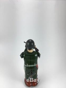 Vintage Japan TN Nomura Tin Toy Wind-up Combat Soldier Original Box Works N/R