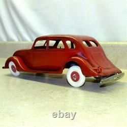 Vintage Kingsbury 1930's Car, Pressed Steel Wind Up Toy, Battery Lights